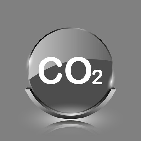 danger carbon dioxide  co2  labels: CO2 icon. Shiny glossy internet button on grey background.