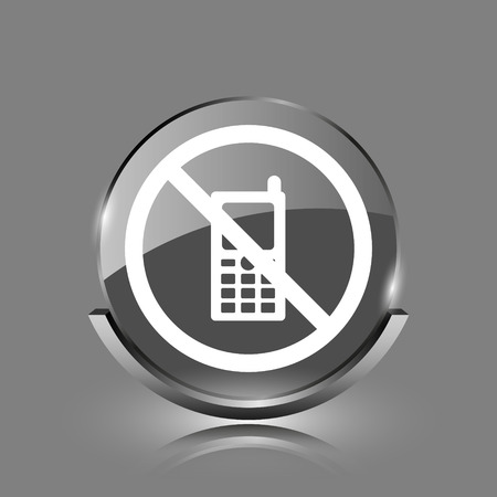 use regulations: Mobile phone restricted icon. Shiny glossy internet button on grey background.