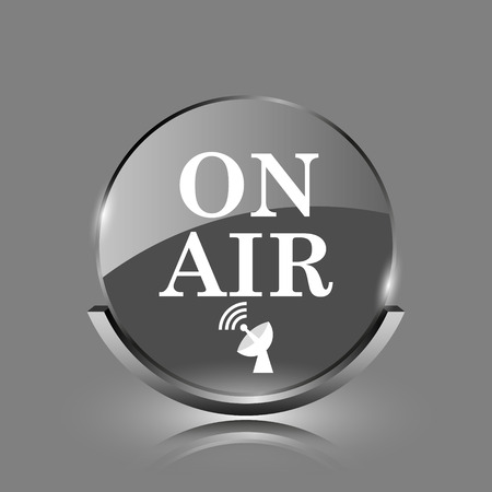 live stream radio: On air icon. Shiny glossy internet button on grey background.