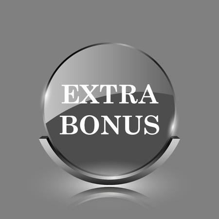 Extra bonus icon. Shiny glossy internet button on grey background.