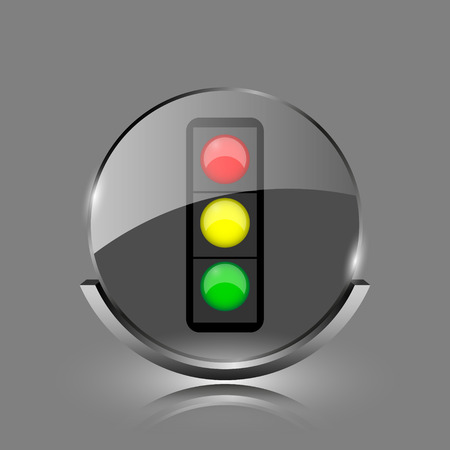 Traffic light icon. Shiny glossy internet button on grey background.  photo