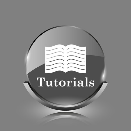 tutorials: Tutorials icon. Shiny glossy internet button on grey background.