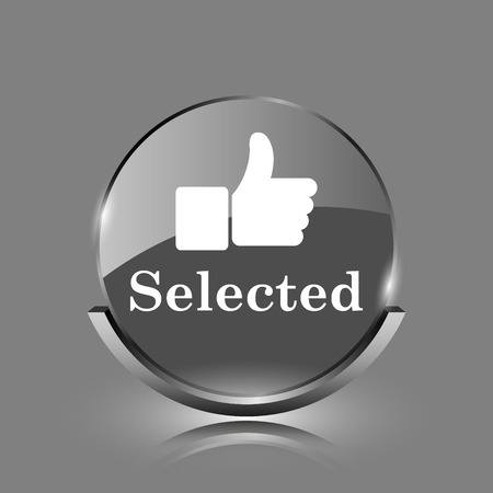 Selected icon. Shiny glossy internet button on grey background.  photo