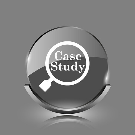 case: Case study icon. Shiny glossy internet button on grey background.  Stock Photo