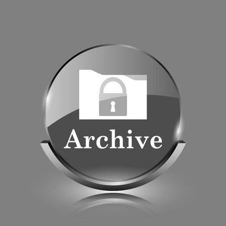 Archive icon. Shiny glossy internet button on grey background.  photo