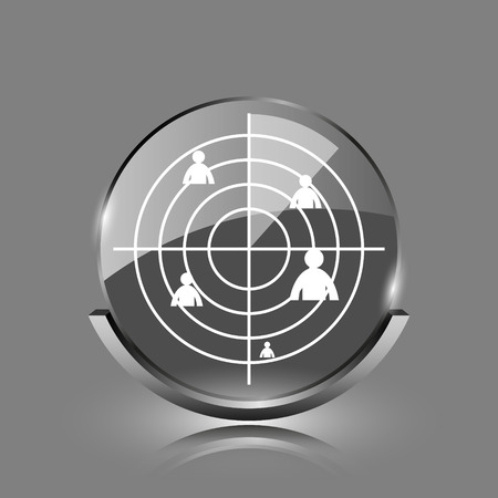 Radar icon. Shiny glossy internet button on grey background.  photo