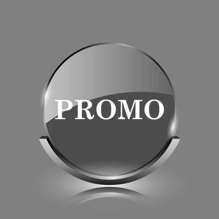 Promo icon. Shiny glossy internet button on grey background.  photo