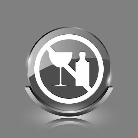 No alcohol icon. Shiny glossy internet button on grey background.  photo