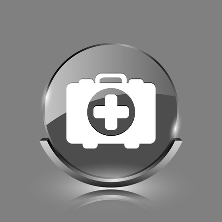 first aid kit key: Medical bag icon. Shiny glossy internet button on grey background.