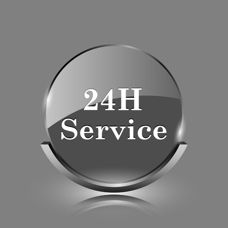 24H Service icon. Shiny glossy internet button on grey background.  photo