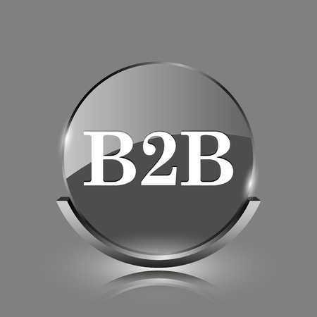b2b: B2B icon. Shiny glossy internet button on grey background.