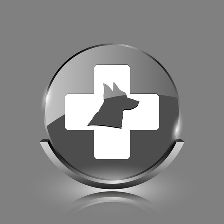 Veterinary icon. Shiny glossy internet button on grey background.  photo