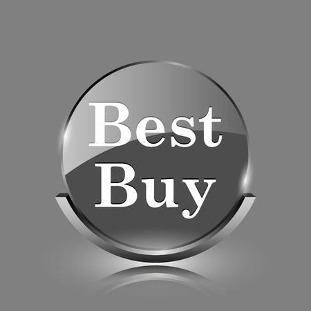 Best buy icon. Shiny glossy internet button on grey background.  photo