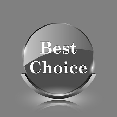 Best choice icon. Shiny glossy internet button on grey background.  photo
