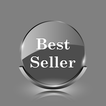 Best seller icon. Shiny glossy internet button on grey background.  photo