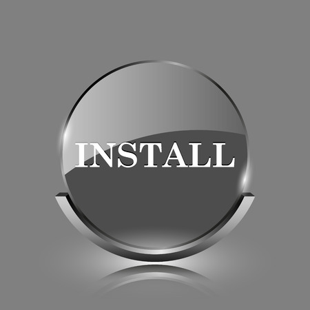 Install icon. Shiny glossy internet button on grey background.  photo