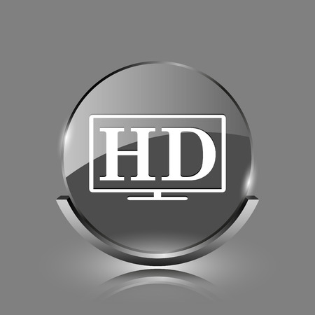 HD TV icon. Shiny glossy internet button on grey background.  photo