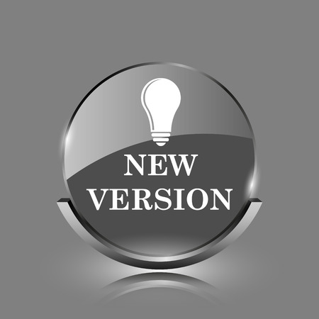 New version icon. Shiny glossy internet button on grey background.  photo