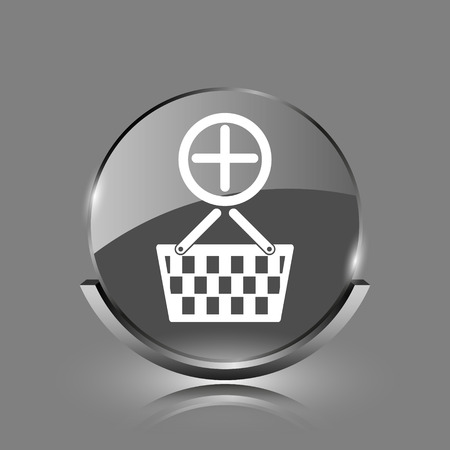 Add to basket icon. Shiny glossy internet button on grey background.  photo