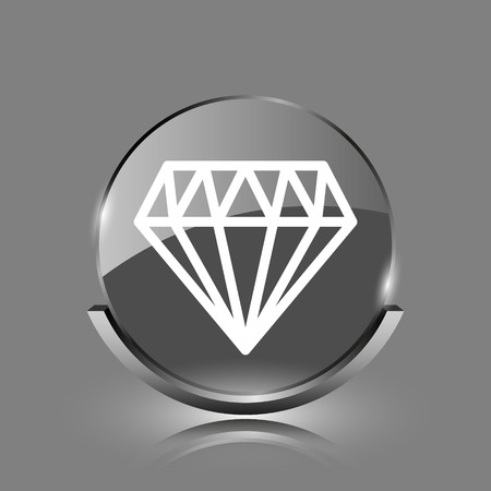 unbreakable: Diamond icon. Shiny glossy internet button on grey background.  Stock Photo