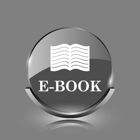 audiobook: E-book icon. Shiny glossy internet button on grey background.  Stock Photo