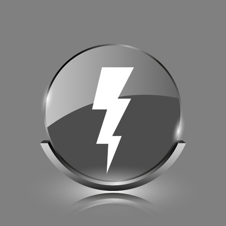 Lightning icon. Shiny glossy internet button on grey background.  photo