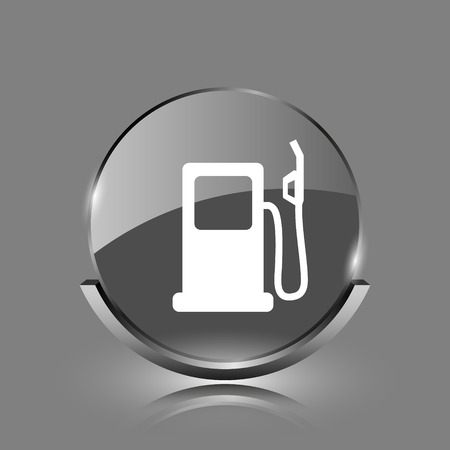 Gas pump icon. Shiny glossy internet button on grey background.  photo