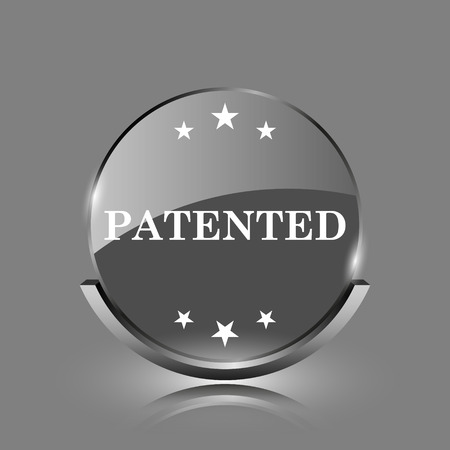 secured property: Patented icon. Shiny glossy internet button on grey background.