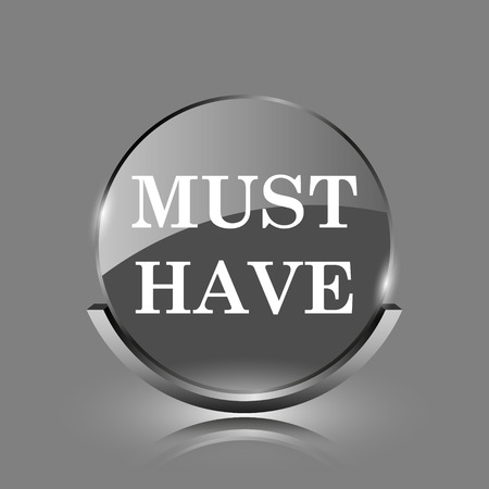 Must have icon. Shiny glossy internet button on grey background.  photo