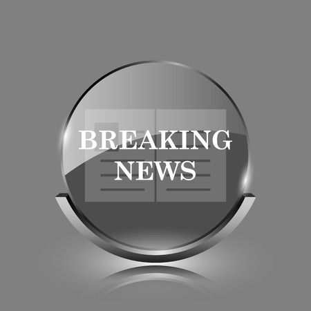 Breaking news icon. Shiny glossy internet button on grey background.  photo