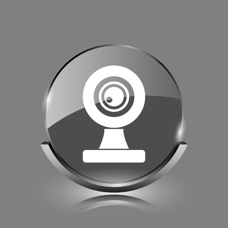 Webcam icon. Shiny glossy internet button on grey background.  photo