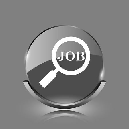 Search for job icon. Shiny glossy internet button on grey background.  photo
