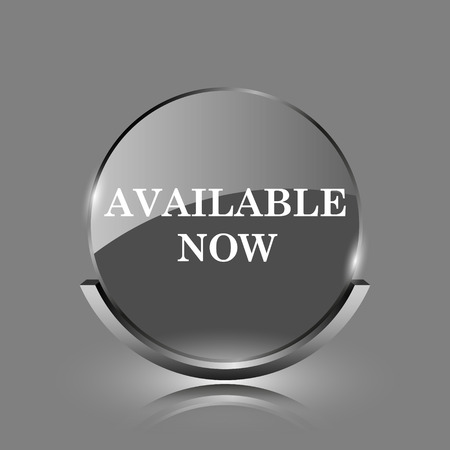 Available now icon. Shiny glossy internet button on grey background.  photo