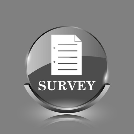 Survey icon. Shiny glossy internet button on grey background.  photo