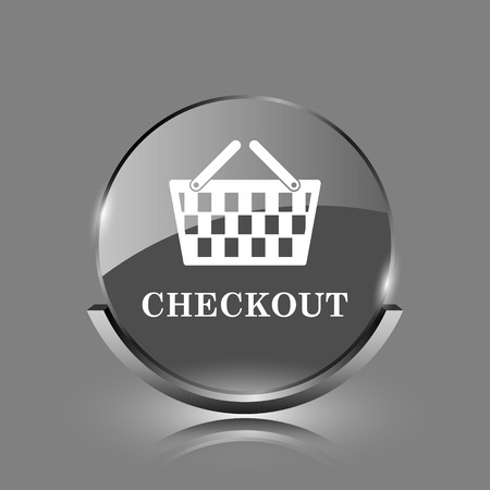 Checkout icon. Shiny glossy internet button on grey background.  photo