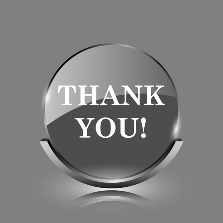 Thank you icon. Shiny glossy internet button on grey background.  photo