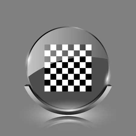 Finish flag icon. Shiny glossy internet button on grey background.  photo