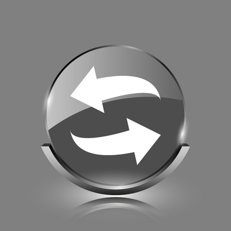 Swap icon. Shiny glossy internet button on grey background.  photo
