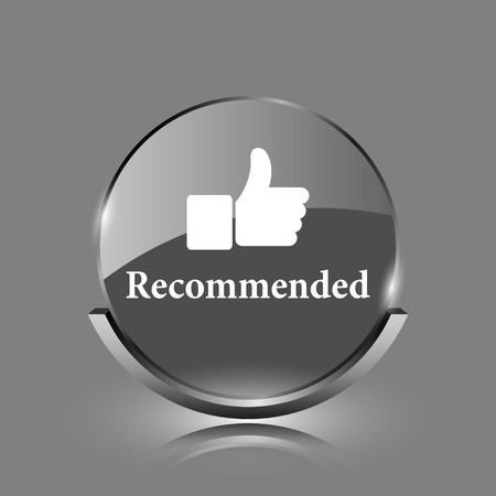 Recommended icon. Shiny glossy internet button on grey background.  photo