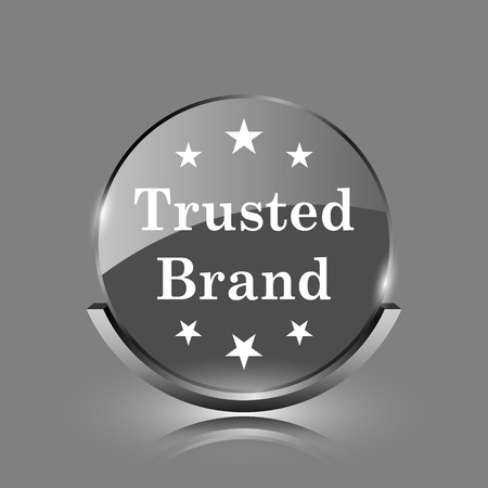 trusted: Trusted brand icon. Shiny glossy internet button on grey background.  Stock Photo