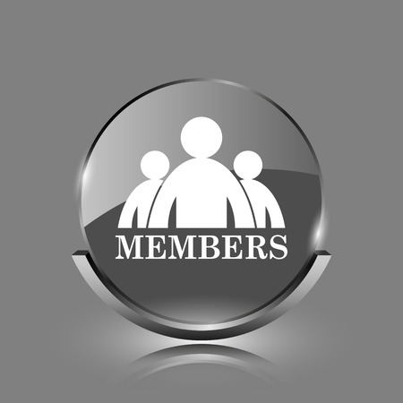 join here: Members icon. Shiny glossy internet button on grey background.