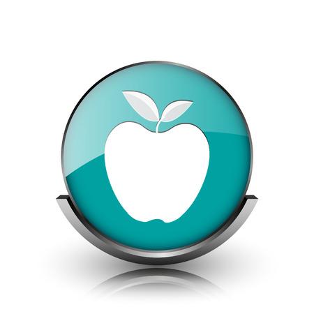 www tasty: Apple icon. Metallic internet button on white background.