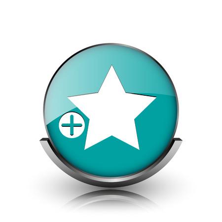 favoritos: A�adir a favoritos icono. Bot�n met�lico de internet sobre fondo blanco. Foto de archivo