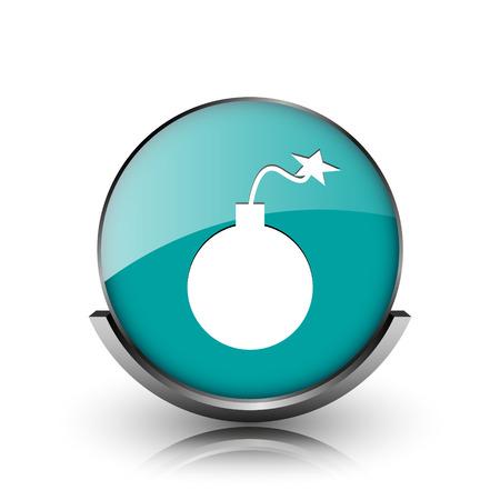 Bomb icon. Metallic internet button on white background.  photo