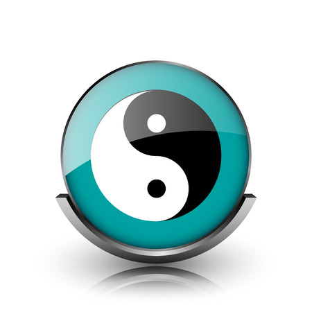 Ying yang icon. Metallic internet button on white background.  photo