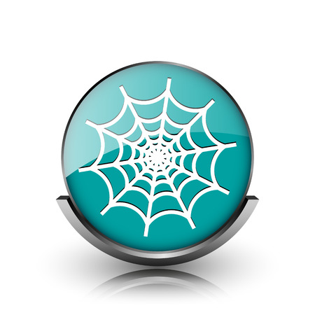Spider web icon. Metallic internet button on white background.  photo