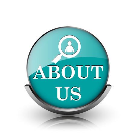 About us icon. Metallic internet button on white background.  photo