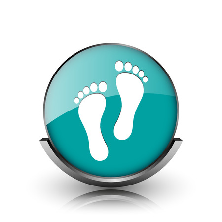 Foot print icon. Metallic internet button on white background.  photo