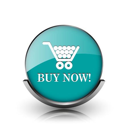 Buy now shopping cart icon. Metallic internet button on white background.  photo