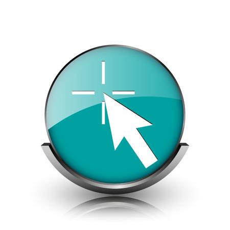 Click here icon. Metallic internet button on white background.  photo